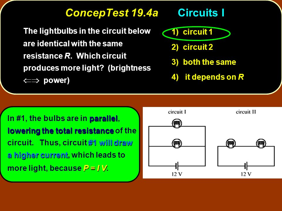 ConcepTest 19.4aCircuits I circuit 1 1) circuit 1 circuit 2 2) circuit 2 both the same 3) both the same it depends on R 4) it depends on R The lightbu