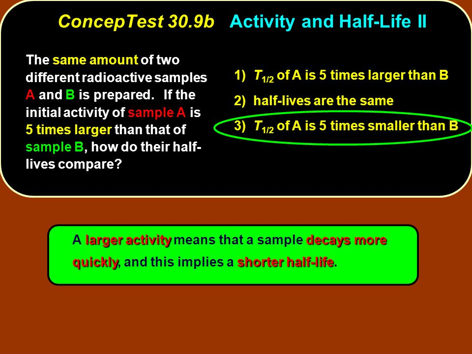 larger activitydecays more quicklyshorter half-life A larger activity means that a sample decays more quickly, and this implies a shorter half-life. T