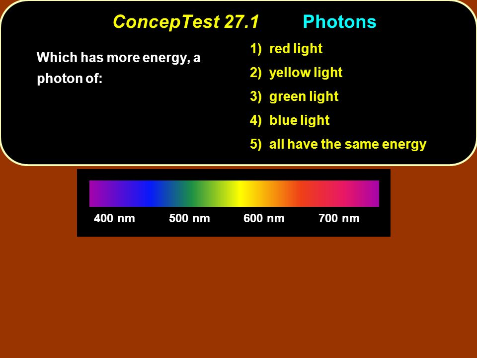 ConcepTest 27.1Photons 400 nm500 nm600 nm700 nm Which has more energy, a photon of: 1) red light 2) yellow light 3) green light 4) blue light 5) all h