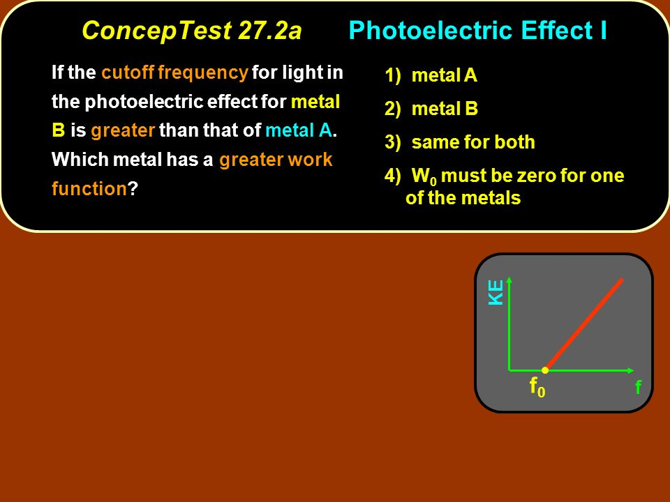 ConcepTest 27.2aPhotoelectric Effect I If the cutoff frequency for light in the photoelectric effect for metal B is greater than that of metal A. Whic