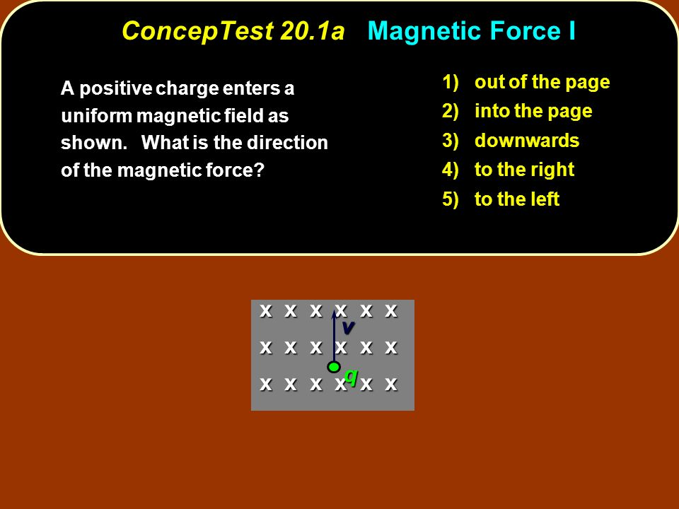 ConcepTest 20.1a Magnetic Force I 1) out of the page 2) into the page 3) downwards 4) to the right 5) to the left A positive charge enters a uniform m