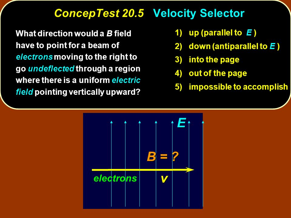 ConcepTest 20.5 Velocity Selector What direction would a B field have to point for a beam of electrons moving to the right to go undeflected through a