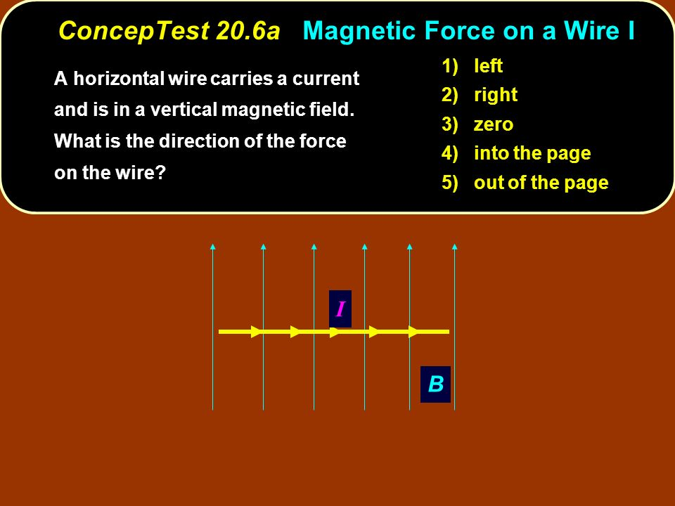 ConcepTest 20.6a Magnetic Force on a Wire I A horizontal wire carries a current and is in a vertical magnetic field. What is the direction of the forc