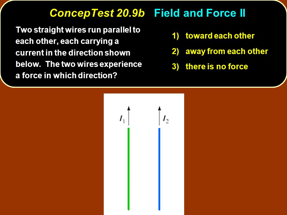 Two straight wires run parallel to each other, each carrying a current in the direction shown below. The two wires experience a force in which directi