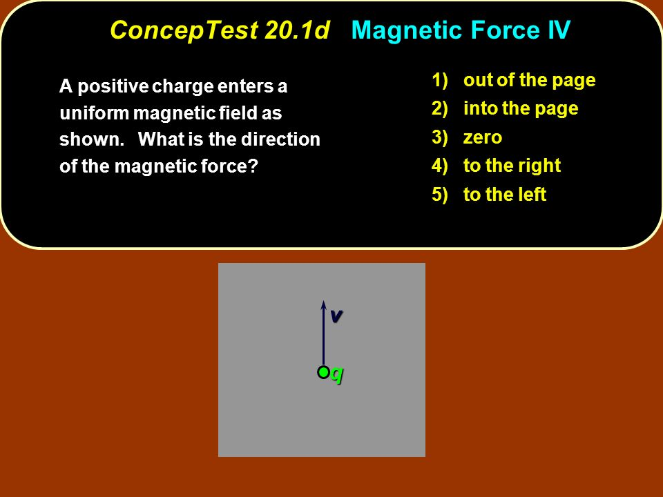 v q 1) out of the page 2) into the page 3) zero 4) to the right 5) to the left ConcepTest 20.1d Magnetic Force IV A positive charge enters a uniform m
