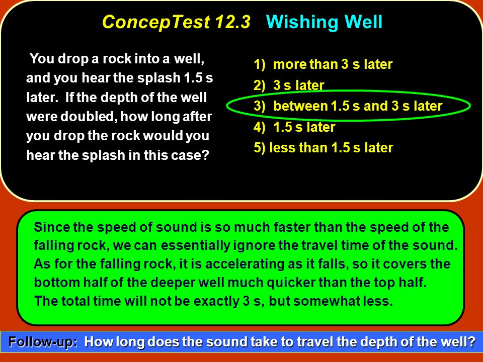 You drop a rock into a well, and you hear the splash 1.5 s later. If the depth of the well were doubled, how long after you drop the rock would you he