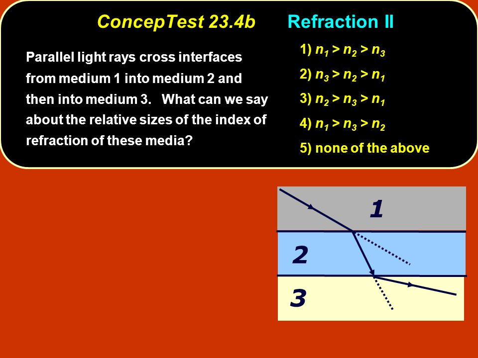 ConcepTest 23.4bRefraction II 1 3 2 Parallel light rays cross interfaces from medium 1 into medium 2 and then into medium 3. What can we say about the