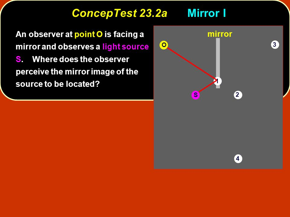 ConcepTest 23.2aMirror I S O 1 2 3 4 mirror An observer at point O is facing a mirror and observes a light source S. Where does the observer perceive