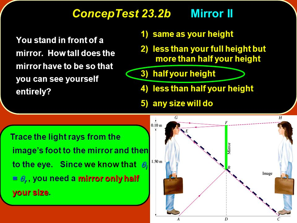 ConcepTest 23.5bGone Fishin II 1) aim directly at the image 2) aim slightly above 3) aim slightly below To shoot a fish with a laser gun, should you aim directly at the image, slightly above, or slightly below?