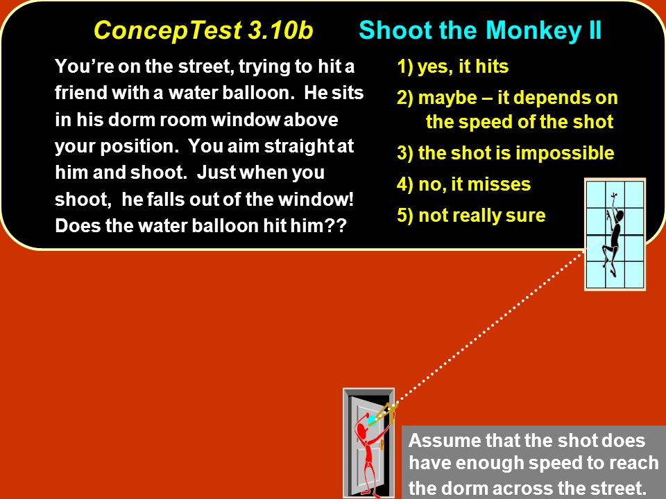 ConcepTest 3.10bShoot the Monkey II Youre on the street, trying to hit a friend with a water balloon. He sits in his dorm room window above your posit