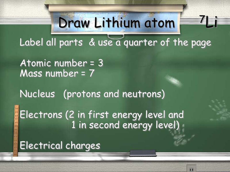 Draw Lithium atom 7 Li Label all parts & use a quarter of the page Atomic number = 3 Mass number = 7 Nucleus (protons and neutrons) Electrons (2 in fi