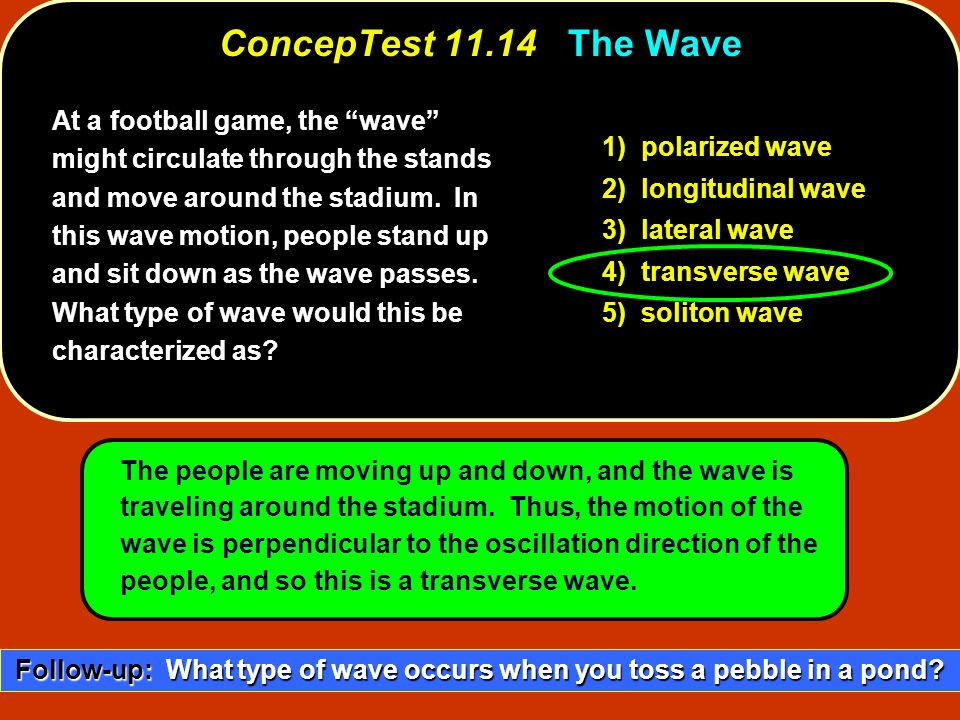 At a football game, the wave might circulate through the stands and move around the stadium. In this wave motion, people stand up and sit down as the