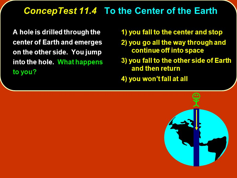ConcepTest 11.4 ConcepTest 11.4 To the Center of the Earth A hole is drilled through the center of Earth and emerges on the other side. You jump into