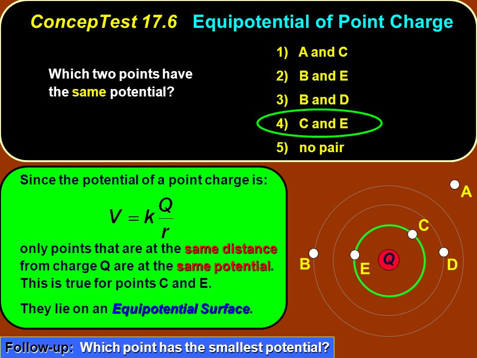 Since the potential of a point charge is: same distance same potential only points that are at the same distance from charge Q are at the same potenti