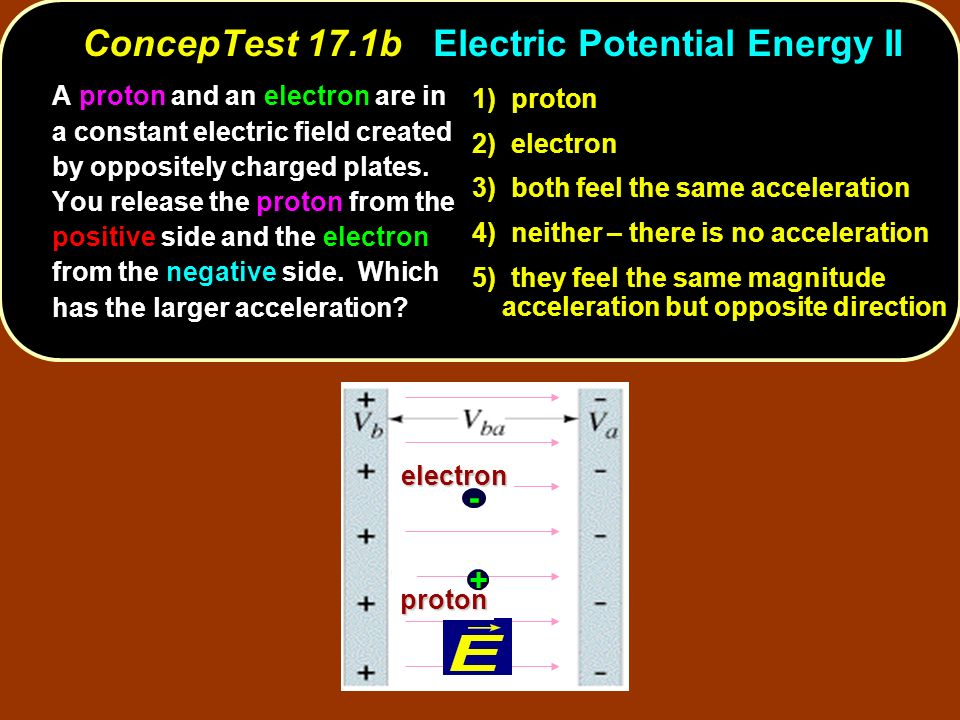 electron proton electron proton + - 1) proton 2) electron 3) both feel the same acceleration 4) neither – there is no acceleration 5) they feel the sa