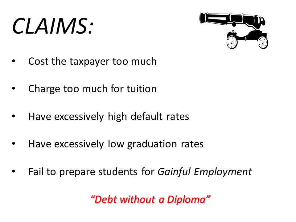 CLAIMS: Cost the taxpayer too much Charge too much for tuition Have excessively high default rates Have excessively low graduation rates Fail to prepa