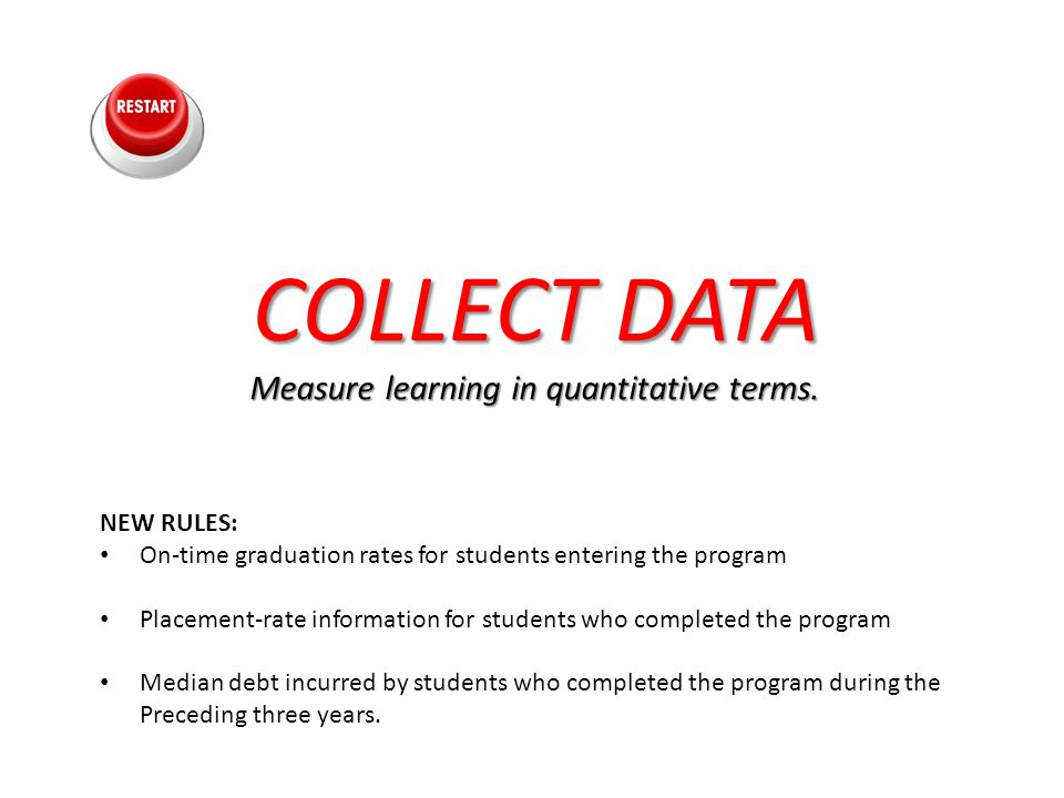 COLLECT DATA COLLECT DATA Measure learning in quantitative terms. NEW RULES: On-time graduation rates for students entering the program Placement-rate