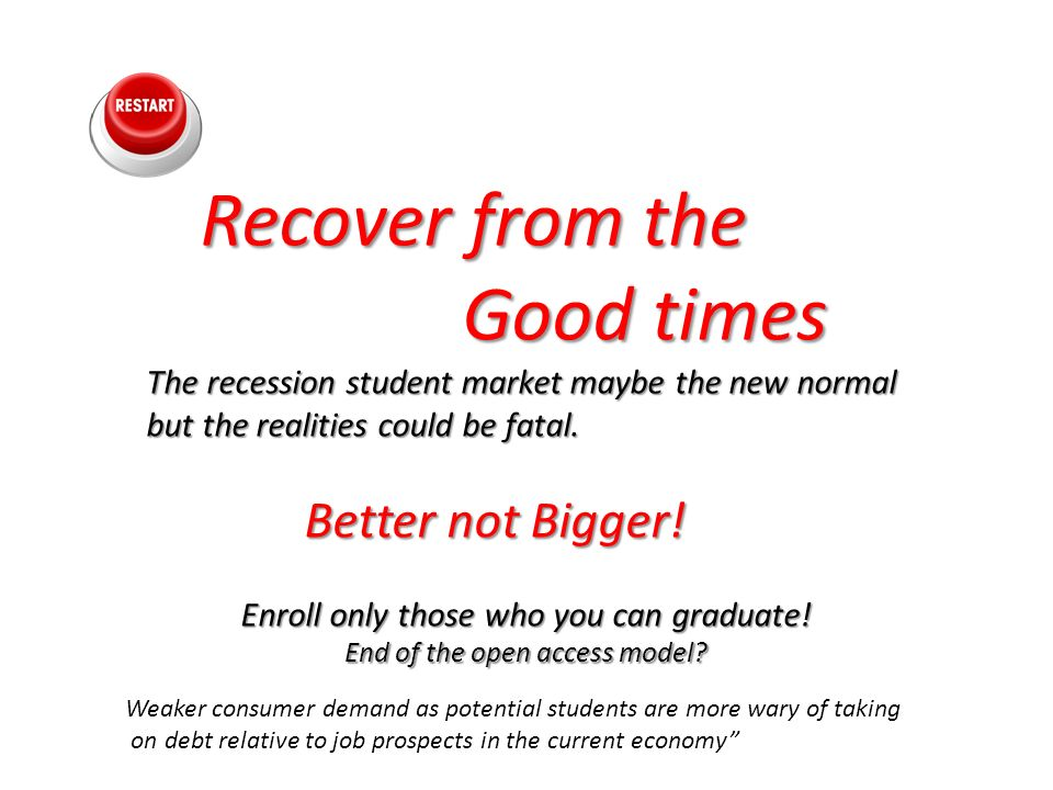 Recover from the Recover from the Good times Good times The recession student market maybe the new normal but the realities could be fatal.