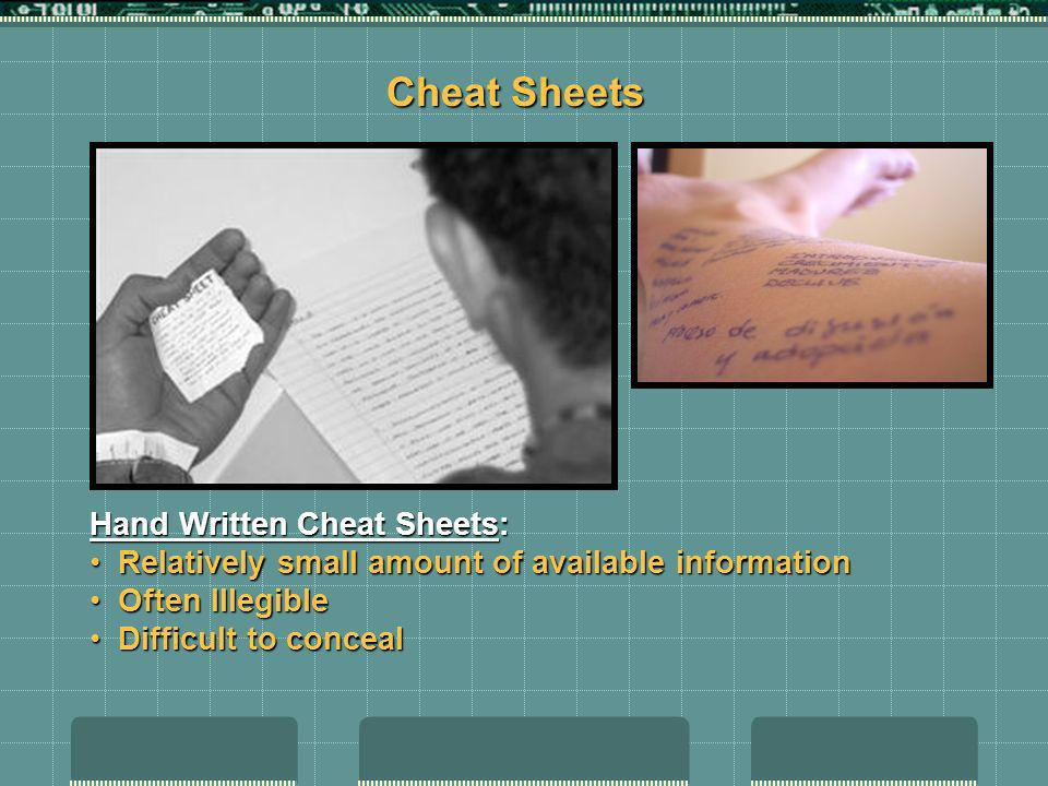 Cheat Sheets Hand Written Cheat Sheets: Relatively small amount of available information Relatively small amount of available information Often Illegi