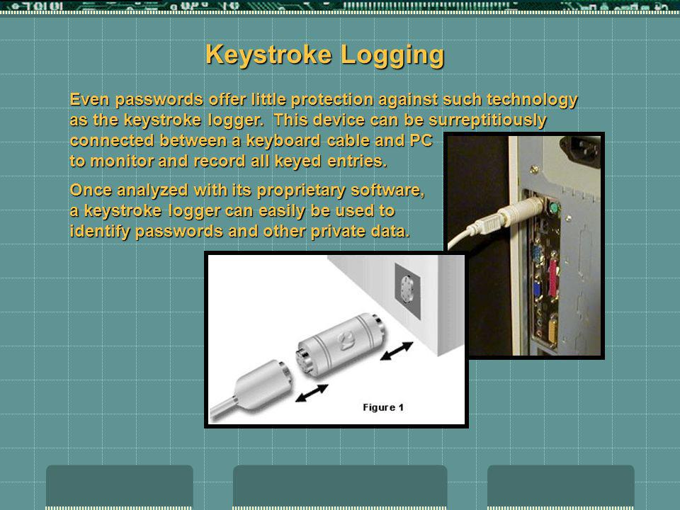 Keystroke Logging Even passwords offer little protection against such technology as the keystroke logger. This device can be surreptitiously connected