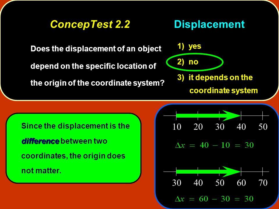 ConcepTest 2.2Displacement ConcepTest 2.2Displacement difference Since the displacement is the difference between two coordinates, the origin does not