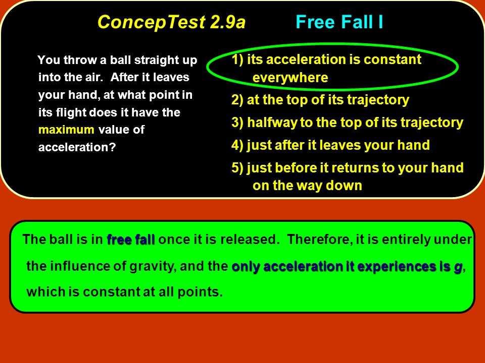 free fall only acceleration it experiences is g The ball is in free fall once it is released. Therefore, it is entirely under the influence of gravity