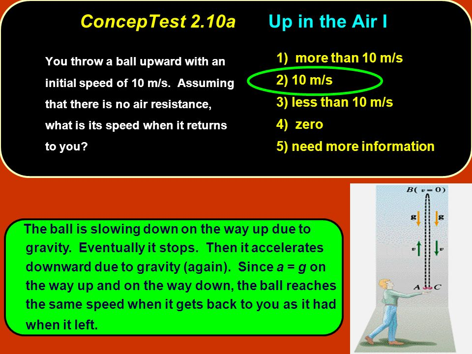The ball is slowing down on the way up due to gravity. Eventually it stops. Then it accelerates downward due to gravity (again). Since a = g on the wa