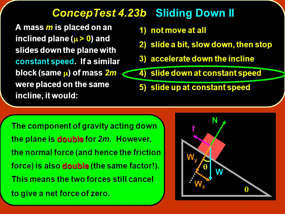 double double The component of gravity acting down the plane is double for 2m. However, the normal force (and hence the friction force) is also double