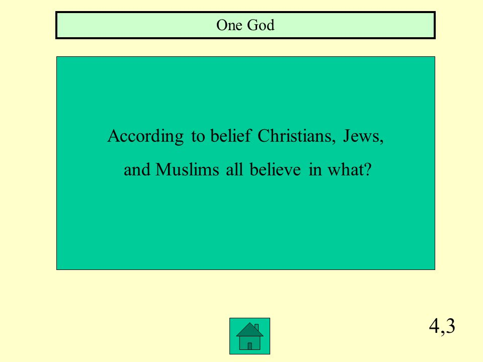 4,3 According to belief Christians, Jews, and Muslims all believe in what? One God
