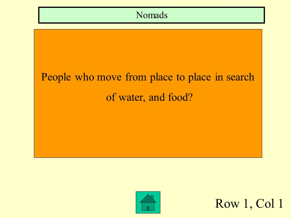 Row 1, Col 1 People who move from place to place in search of water, and food? Nomads