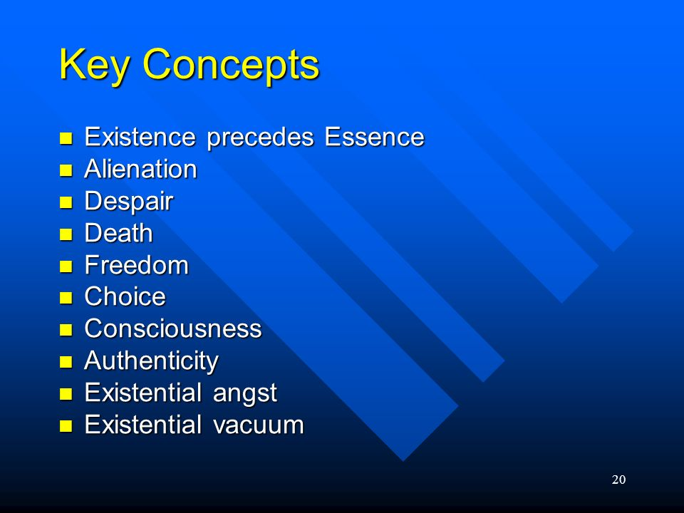 20 Key Concepts Existence precedes Essence Existence precedes Essence Alienation Alienation Despair Despair Death Death Freedom Freedom Choice Choice