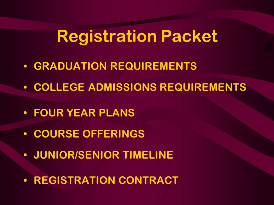 Registration Packet GRADUATION REQUIREMENTS COLLEGE ADMISSIONS REQUIREMENTS FOUR YEAR PLANS COURSE OFFERINGS JUNIOR/SENIOR TIMELINE REGISTRATION CONTRACT