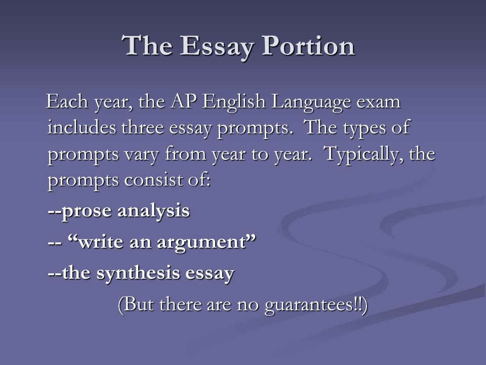 The Essay Portion Each year, the AP English Language exam includes three essay prompts.