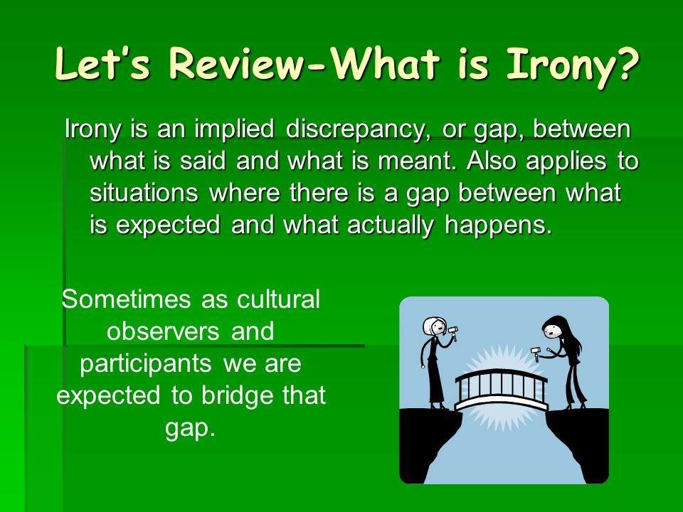 Lets Review-What is Irony.