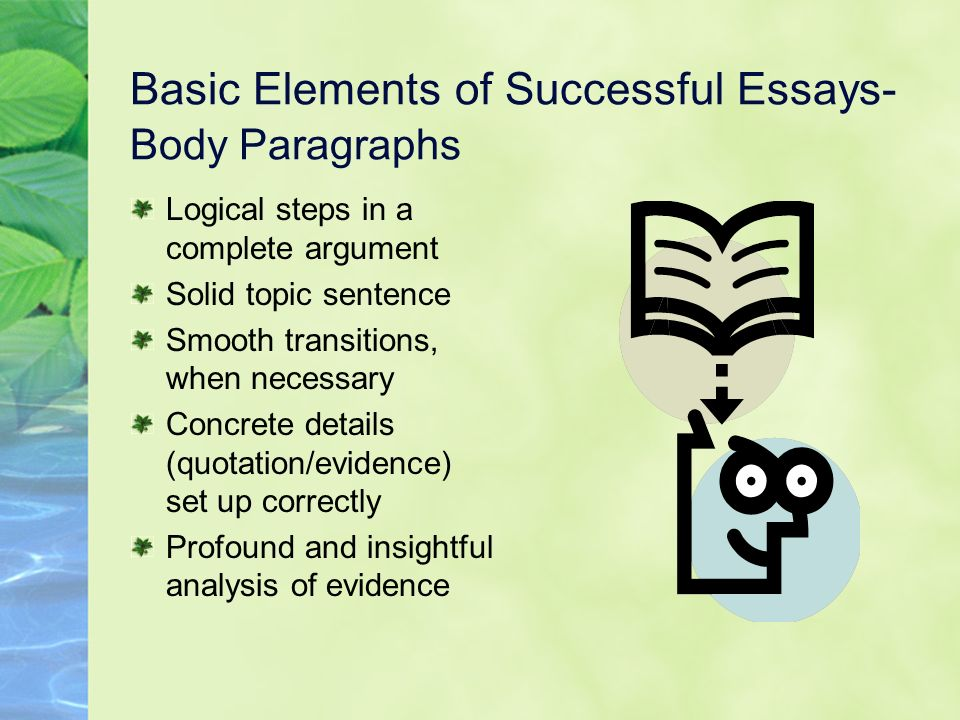 Basic Elements of Successful Essays- Body Paragraphs Logical steps in a complete argument Solid topic sentence Smooth transitions, when necessary Conc