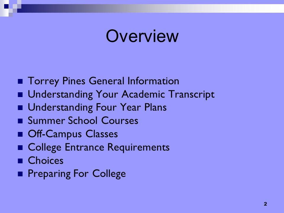 2 Overview Torrey Pines General Information Understanding Your Academic Transcript Understanding Four Year Plans Summer School Courses Off-Campus Clas