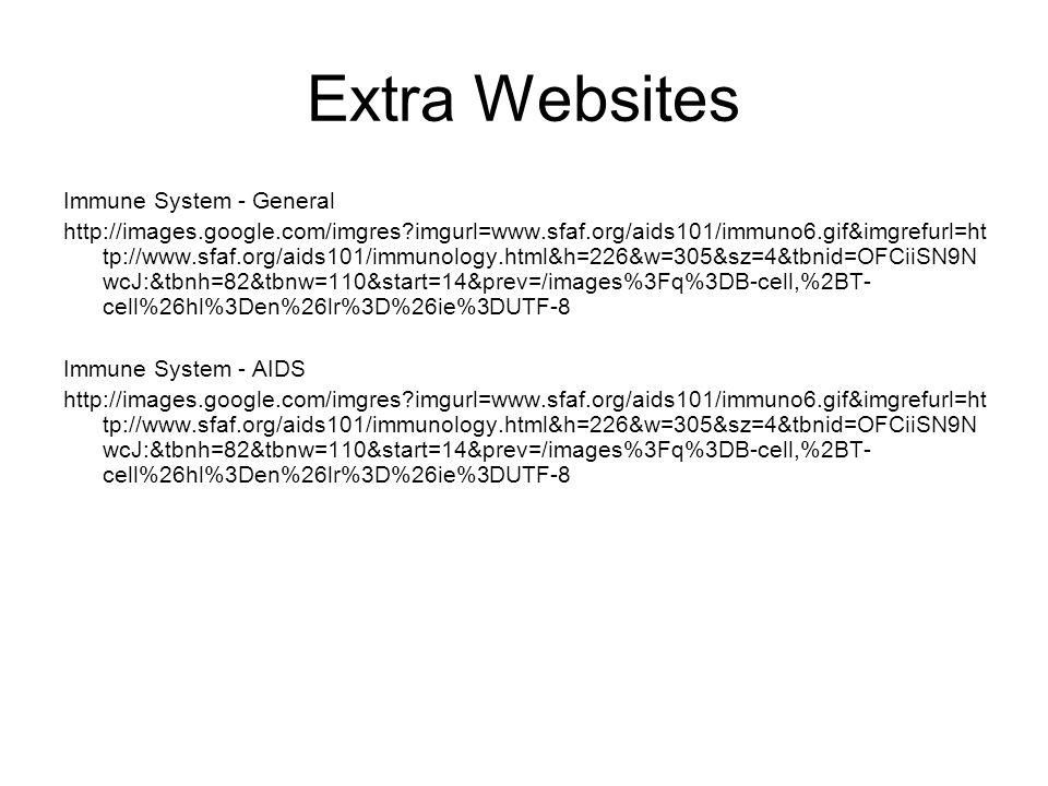 Extra Websites Immune System - General http://images.google.com/imgres?imgurl=www.sfaf.org/aids101/immuno6.gif&imgrefurl=ht tp://www.sfaf.org/aids101/immunology.html&h=226&w=305&sz=4&tbnid=OFCiiSN9N wcJ:&tbnh=82&tbnw=110&start=14&prev=/images%3Fq%3DB-cell,%2BT- cell%26hl%3Den%26lr%3D%26ie%3DUTF-8 Immune System - AIDS http://images.google.com/imgres?imgurl=www.sfaf.org/aids101/immuno6.gif&imgrefurl=ht tp://www.sfaf.org/aids101/immunology.html&h=226&w=305&sz=4&tbnid=OFCiiSN9N wcJ:&tbnh=82&tbnw=110&start=14&prev=/images%3Fq%3DB-cell,%2BT- cell%26hl%3Den%26lr%3D%26ie%3DUTF-8
