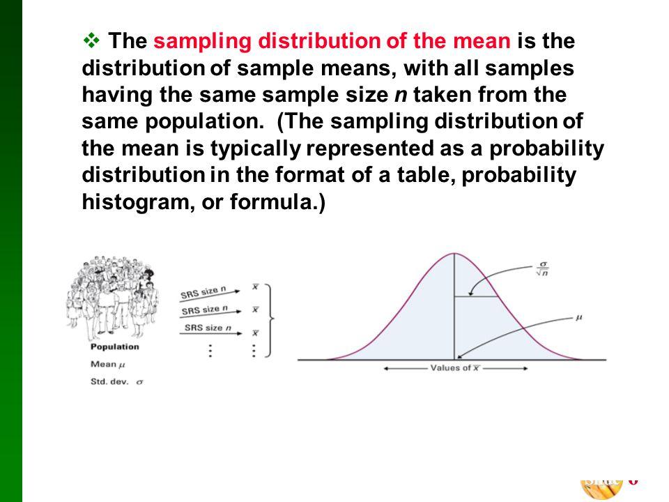 Slide Slide 6 The sampling distribution of the mean is the distribution of sample means, with all samples having the same sample size n taken from the