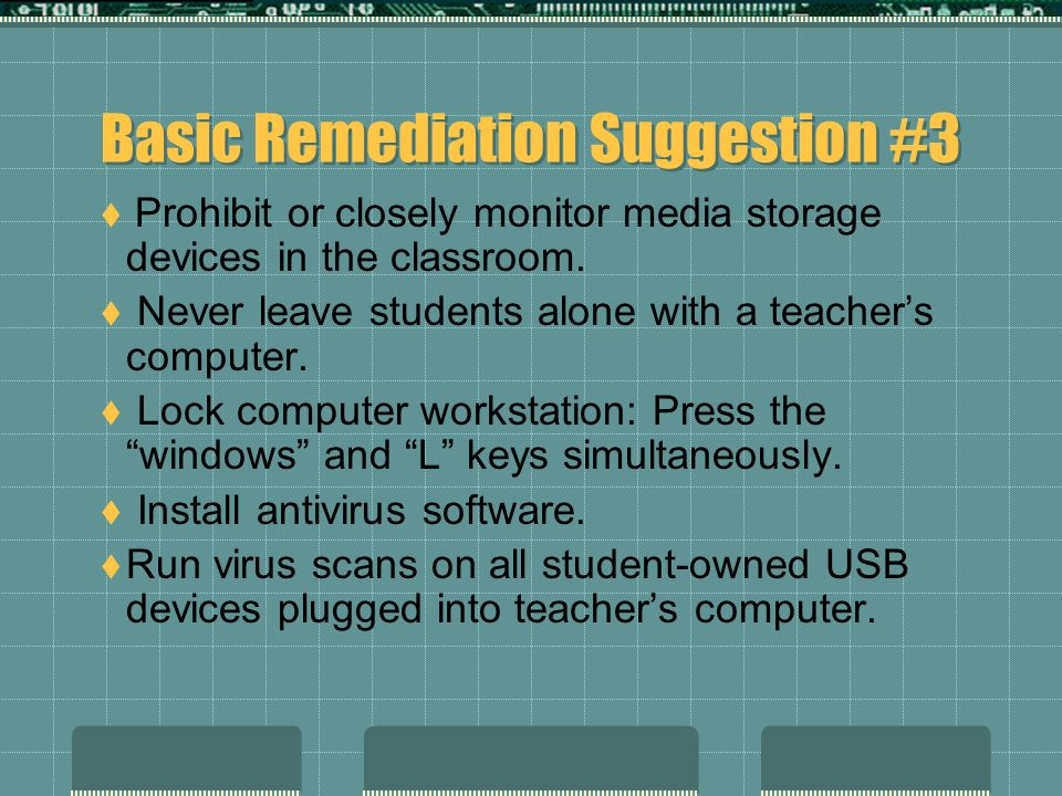 Basic Remediation Suggestion #3 Prohibit or closely monitor media storage devices in the classroom. Never leave students alone with a teachers compute