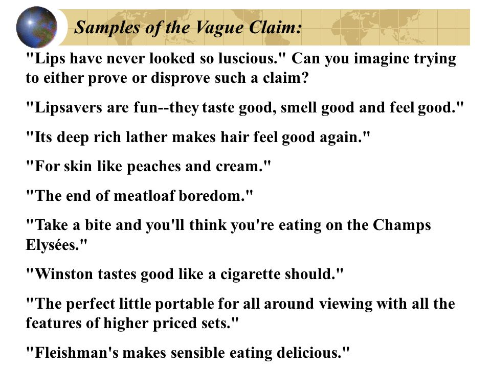 Samples of the Vague Claim:
