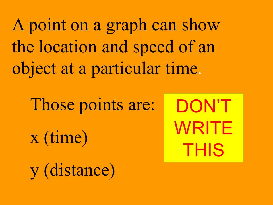 A point on a graph can show the location and speed of an object at a particular time. Those points are: x (time) y (distance) DONT WRITE THIS