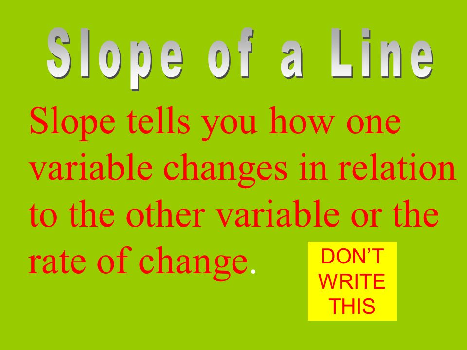 Slope tells you how one variable changes in relation to the other variable or the rate of change.