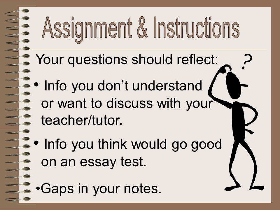 Your questions should reflect: Info you dont understand or want to discuss with your teacher/tutor. Info you think would go good on an essay test. Gap