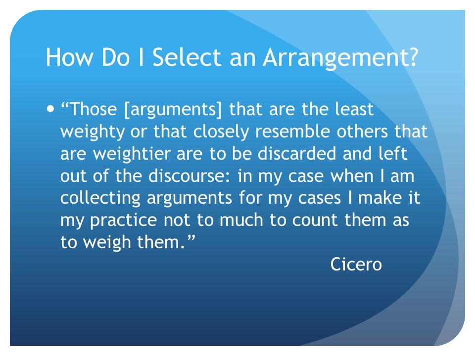 ARRANGEMENT The general format of the argument. Three major arrangements: Classical Rogerian Toulmin