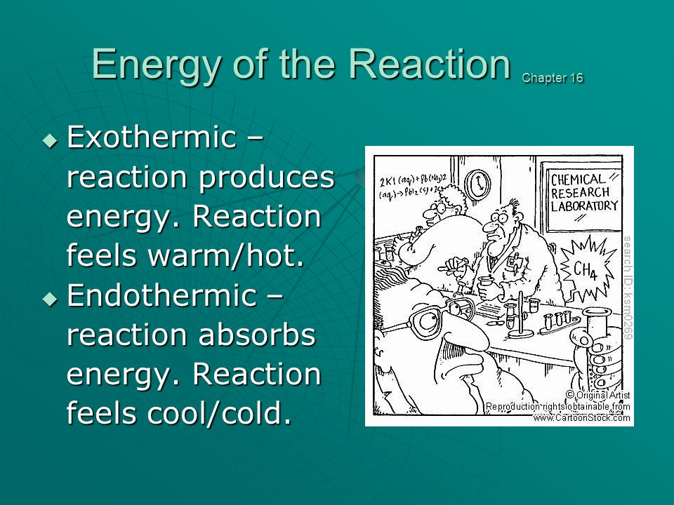 Energy of the Reaction Chapter 16 Exothermic – Exothermic – reaction produces energy.
