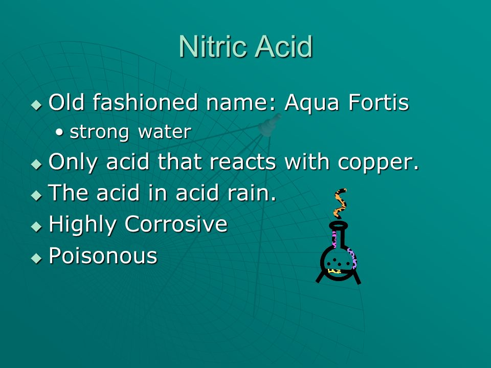 Nitric Acid Old fashioned name: Aqua Fortis Old fashioned name: Aqua Fortis strong waterstrong water Only acid that reacts with copper. Only acid that