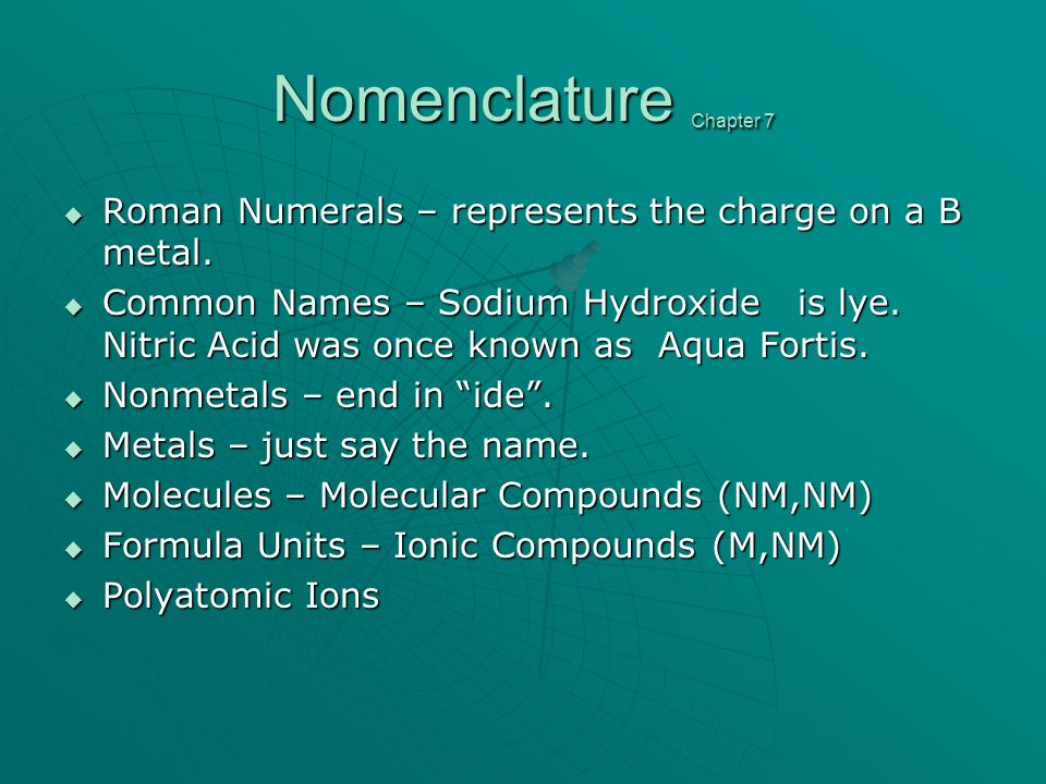 Nomenclature Chapter 7 Roman Numerals – represents the charge on a B metal.