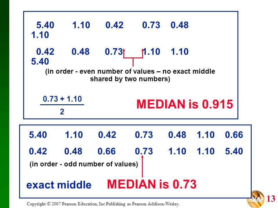 Slide Slide 13 Copyright © 2007 Pearson Education, Inc Publishing as Pearson Addison-Wesley. 5.40 1.10 0.420.73 0.48 1.10 0.66 0.42 0.48 0.660.73 1.10