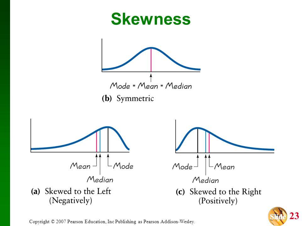 Slide Slide 23 Copyright © 2007 Pearson Education, Inc Publishing as Pearson Addison-Wesley. Skewness