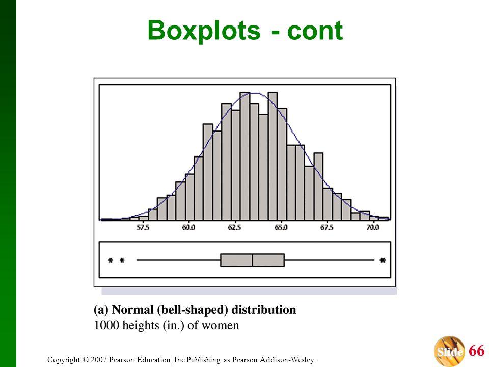 Slide Slide 66 Copyright © 2007 Pearson Education, Inc Publishing as Pearson Addison-Wesley. Boxplots - cont